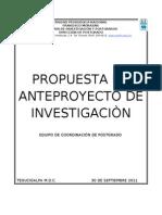 PROPUESTA DE ESQUEMA PARA LA ELABORACIÒN DE UN PROYECTO DE INVESTIGACIÒN