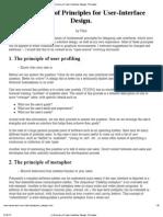 A Summary of User Interface Design Principles