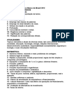 Conteúdo Programático Banco do Brasil 2012