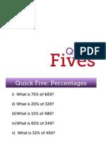 'Quick Five' Starter Questions - Maths GCSE Foundation Revision