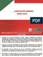 Sustento  para el  incremento de laRemuneracion Minima Mayo 2012