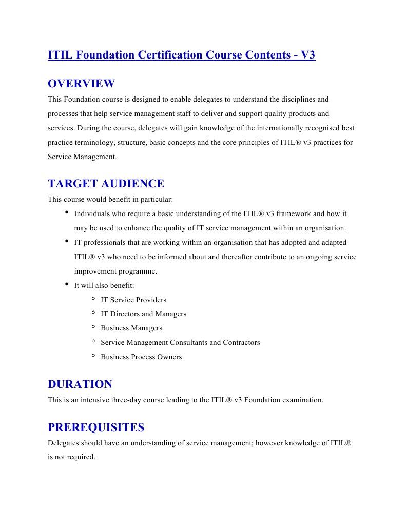 Itil Foundation V3 Itil Business