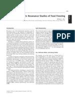 Magnetic Resonance Studies of Food Freezing