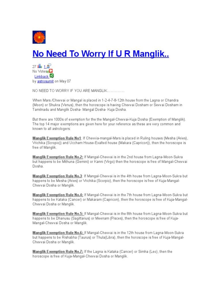 No Need To Worry If U R Manglik  : 1 Linkback astrosumit