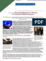EU-U.S. Summit Signals New Threats To Natural Health Therapies