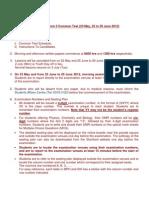 2012 Y5 Term 3 Common Test Schedule