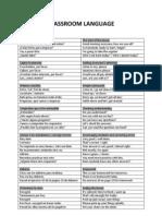 Classroom Language - Comprehensive List