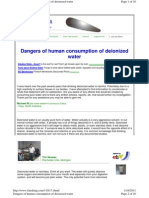 Dangers of Human Consumption of Deionized Water