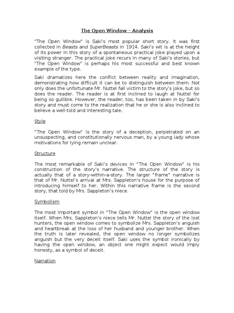 The open window analysis saki deception biocorpaavc Gallery