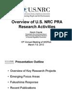 Ml120600599 - Overview of u.s. Nrc Pra