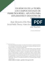 Elementos basicos de la Teoría de los campos sociales de Pierre Bourdieu