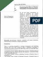 TAJEDDINI TRUEMAN LARSEN Examining the Effect of Market Orientation on Innovativess