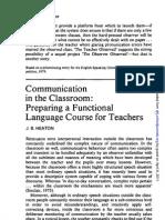 Communication in the Classroom - Preparing a Functional Language Cse for Teachers - J.B. HEALTON