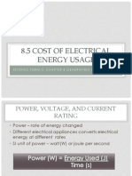 8.5 Cost of Electrical Energy Usage