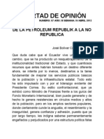 DE LA PETROLEUM REPUBLIK A LA NO REPUBLICA