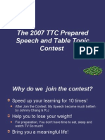 The 2007 TTC prepared speech and Table Topic contest