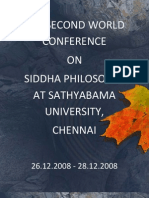 2nd World Conference on Siddha Philosophy, Chennai