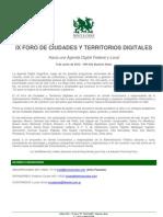 Programa IX Foro de Ciudades y Territorios Digitales - 8 de Junio 2012