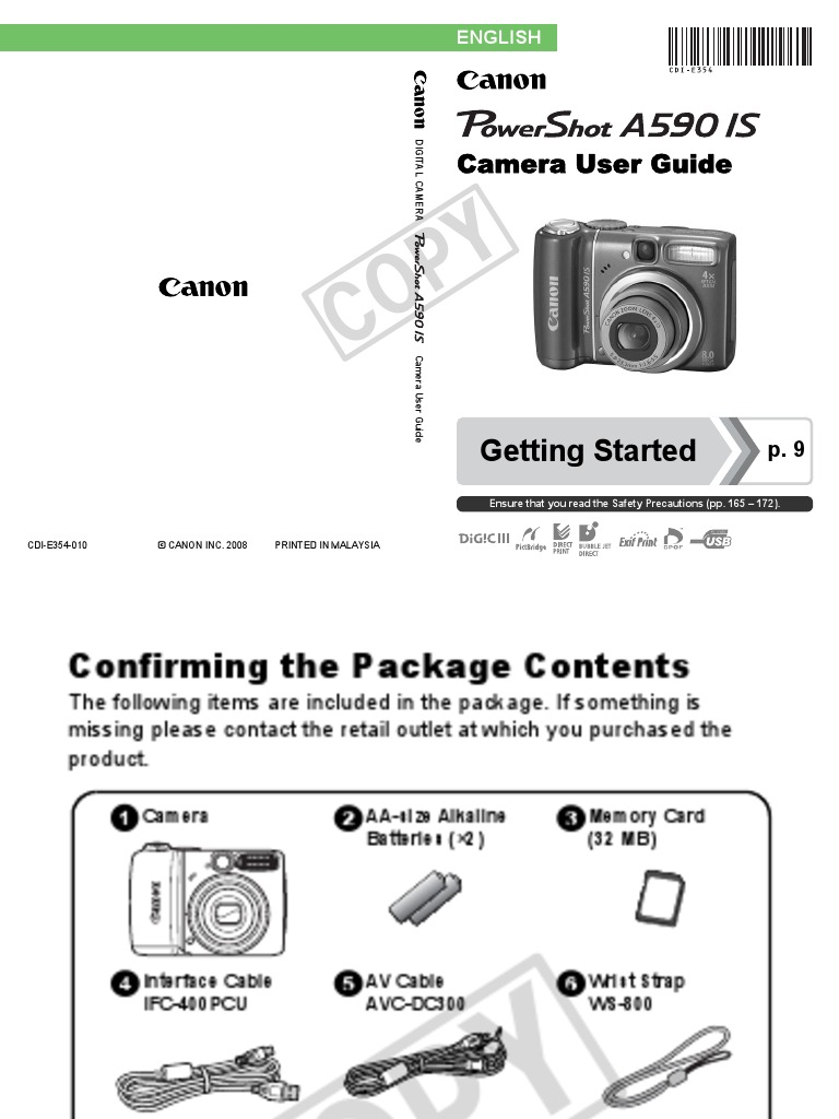 Manual Canon Powershot A590 Is