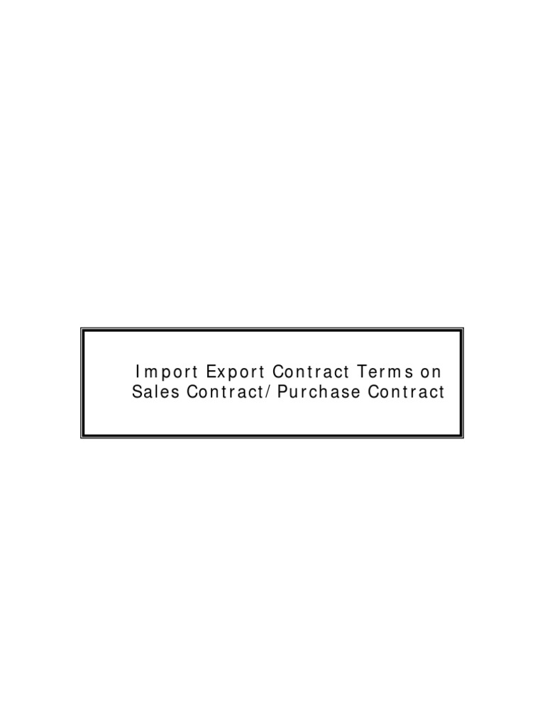 Import Export Contract Terms Letter Of Credit – Export Contract