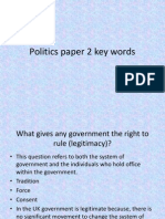 Politics Paper 2 Key Words