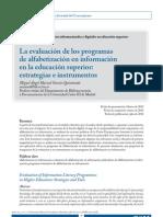 La Evaluacion de Los Progranas de Alfabetizacion en ion en La Educacion Superior Estrategica e Intrumnentos