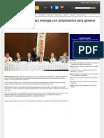 Promete Felipe Enriquez sinergia con empresarios y generar empleos para jóvenes.