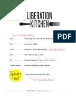 Liberation Kitchen Menu May 2012