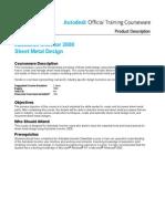 Aotc Autodesk Inventor 2008 Sheet Metal Design Course Description