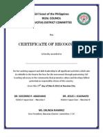 Certificate Girl Scout