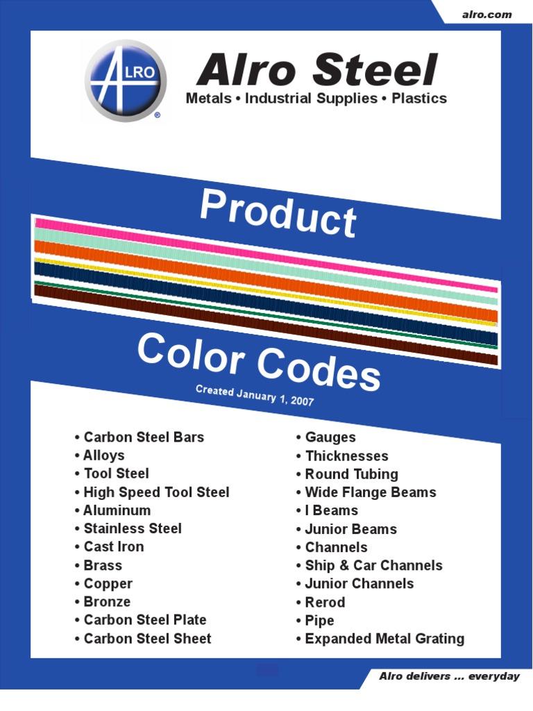 Color code chart sheet metal structural steel geenschuldenfo Gallery