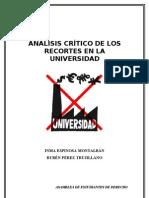 ANÁLISIS CRÍTICO DE LOS RECORTES EN LA UNIVERSIDAD