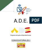 """Programa Nacional de Ayuda al Deportista Escolar """"ADE"""" Convocatoria 2011"""
