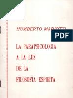 MARIOTTI Humberto - La Parapsicologia a La Luz de La Filosofia Espirita - PENSE