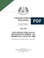 Akta 603, Akta Penguatkuasaan Konvensyen Periuk Api Pembinasa Anggota 2000