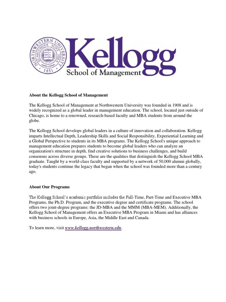 Kellogg School Of Management Overview