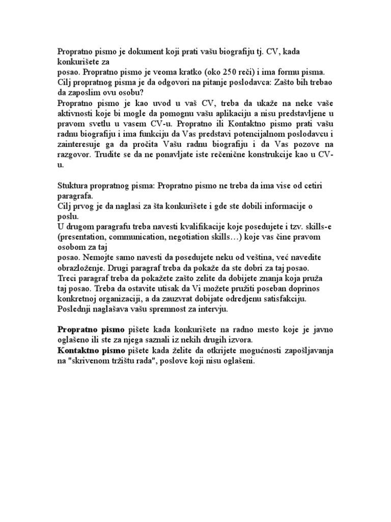propratno pismo objasnjenje i primer