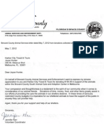 Animal Services Letter Dated May 7, 2012