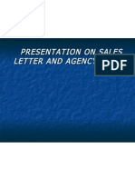 Presentation on Sales Letter and Agency Letter
