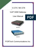 MV374 MV378 Manual