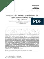 Catalase Peroxido de Hidrogenio e Termotolerancia Em Pimentao
