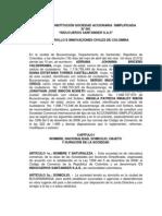 Acta de Constitucion Sociedad Accionaria Simplificada Palmjam Sas
