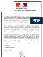 Decreto de Constitución del Gobierno Provisional de la República Española