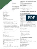Math 285 Formula Sheet