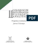 Programa Jueves 17 de mayo, II Coloquio de estudiantes de filosofía analtítica