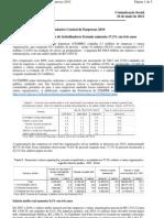 CEMPRE 2010 - número de trabalhadores formais aumenta 17,3% em três anos