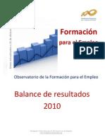 Balance Formacion Para El Empleo 2010