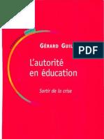 L'Autorité en Education