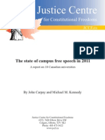 Justice Centre for Constitutional Freedoms (JCCF) - The state of campus free speech in 2011