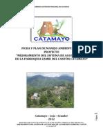 """Resumen Ejecutivo y Ficha del Plan de Manejo Ambiental del proyecto """"Mejoramiento del Sistema de Agua Potable de la parroquia Zambi"""" del cantón Catamayo"""